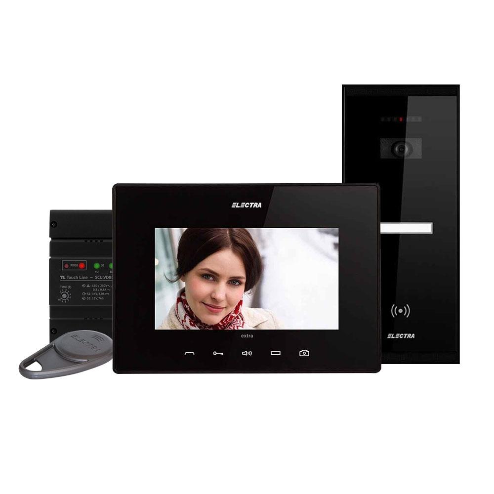 Kit videointerfon Electra Touch Line Extra VKE.P1SR.T7S9.ELB04, 1 familie, aparent, 7 inch imagine spy-shop.ro 2021