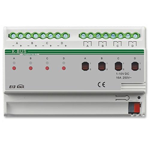 Actuator cu dimmer 0-10V ADTV-04/16.1, 4 canale, transmitere status, 100-240 Vca