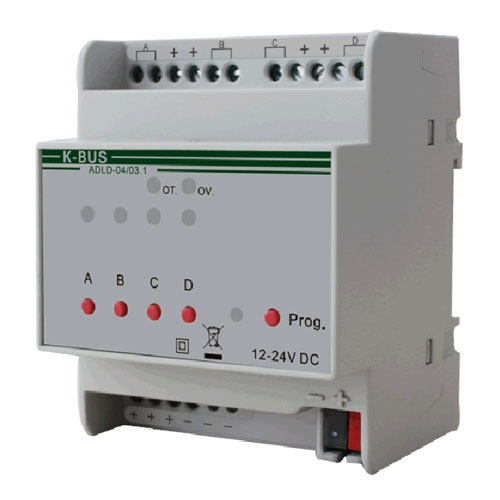 Actuator LED cu dimmer ADLD-04/03.1, 4 canale, transmitere status, 12-24 Vcc
