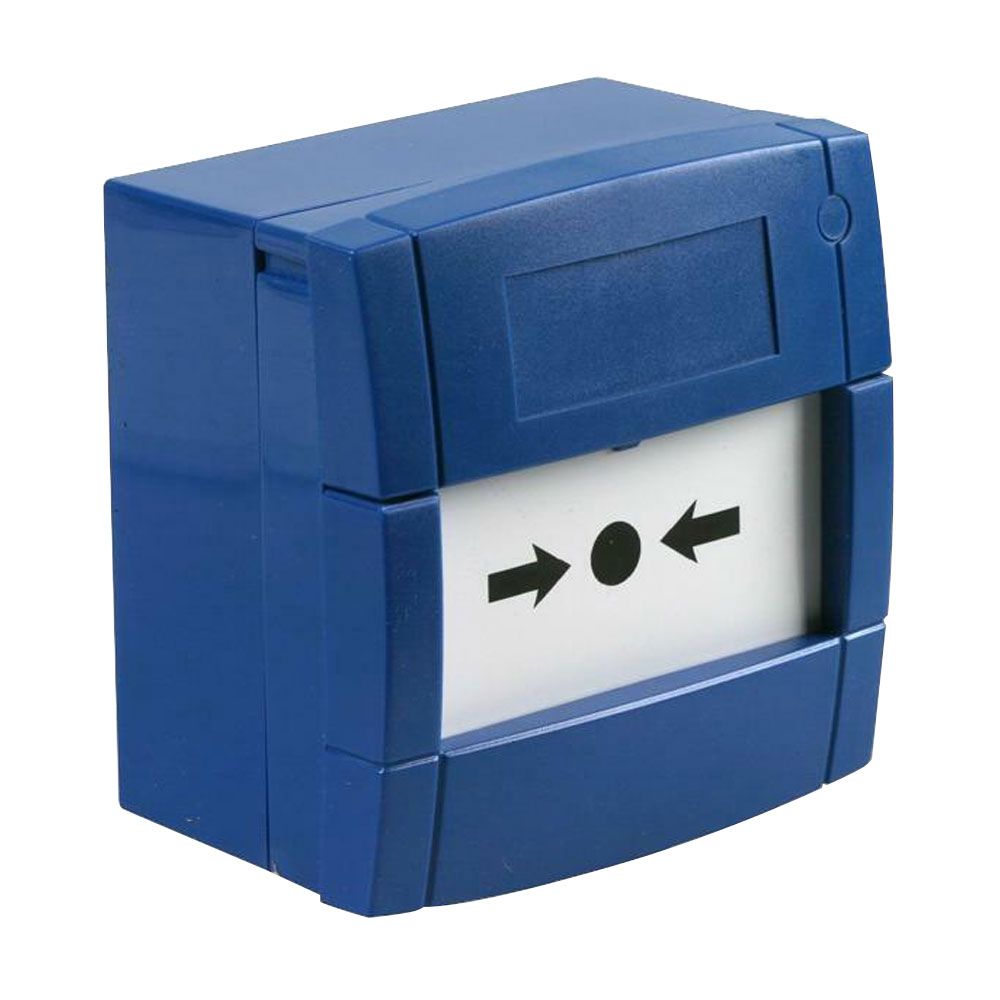 Buton de incendiu cu geam KAC MCP3A-B000SG-STCK-12, NO/NC, aparent, albastru