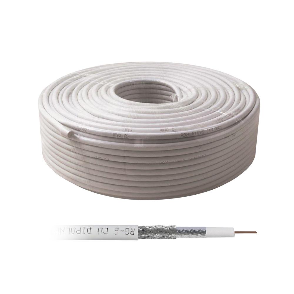 Cablu coaxial alb RG6 (100 m), 75 ohm, alb imagine spy-shop.ro 2021