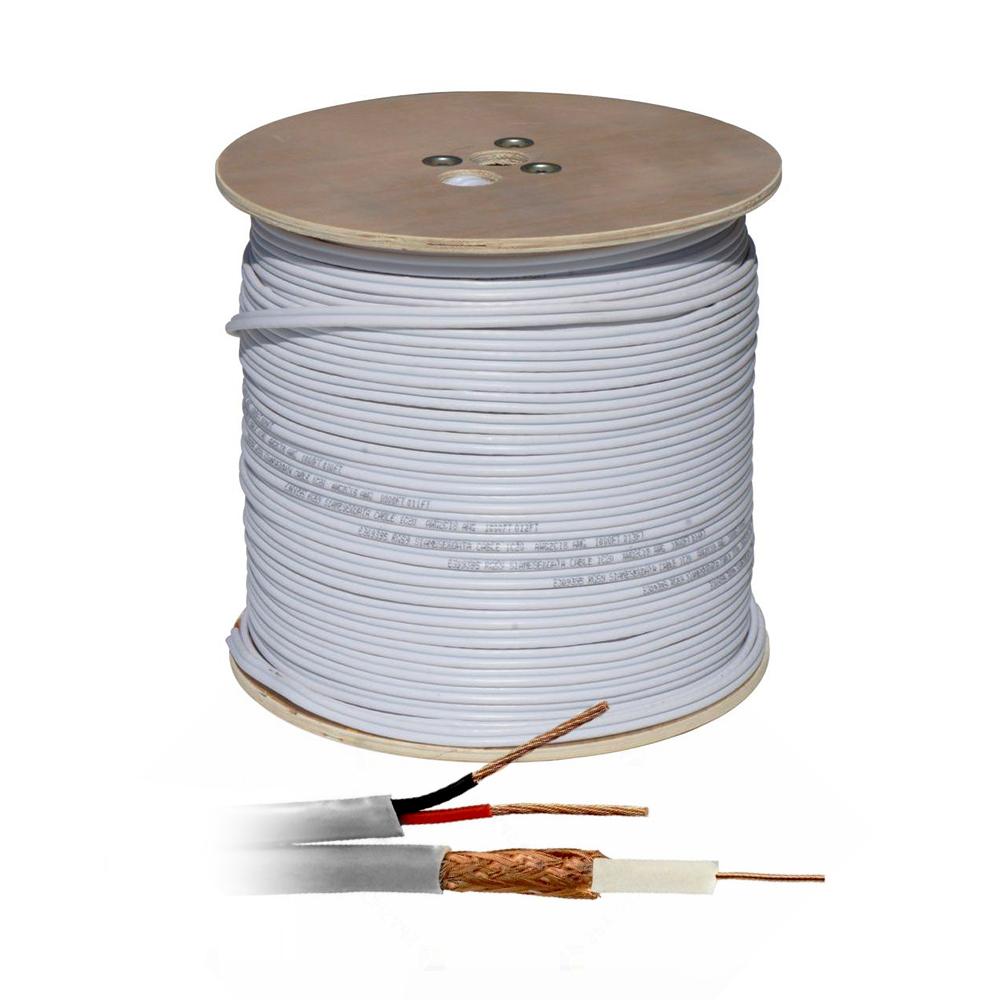 Cablu coaxial siamez RG 59 + Alimentare 2x0.75 (200 m), cupru, gri imagine spy-shop.ro 2021