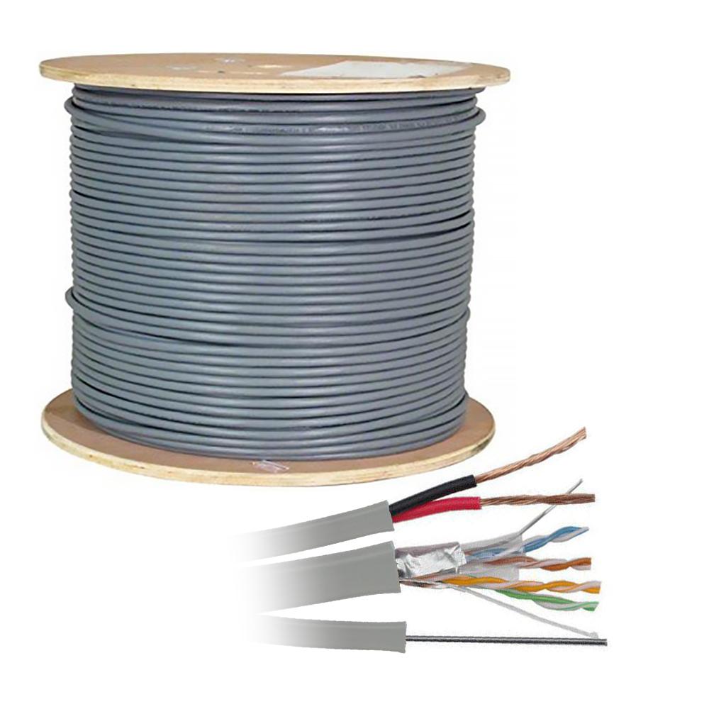 Cablu FTP CAT 5E CCA cu sufa si alimentare 0.5 mm, aluminiu cuprat, rola 305 m