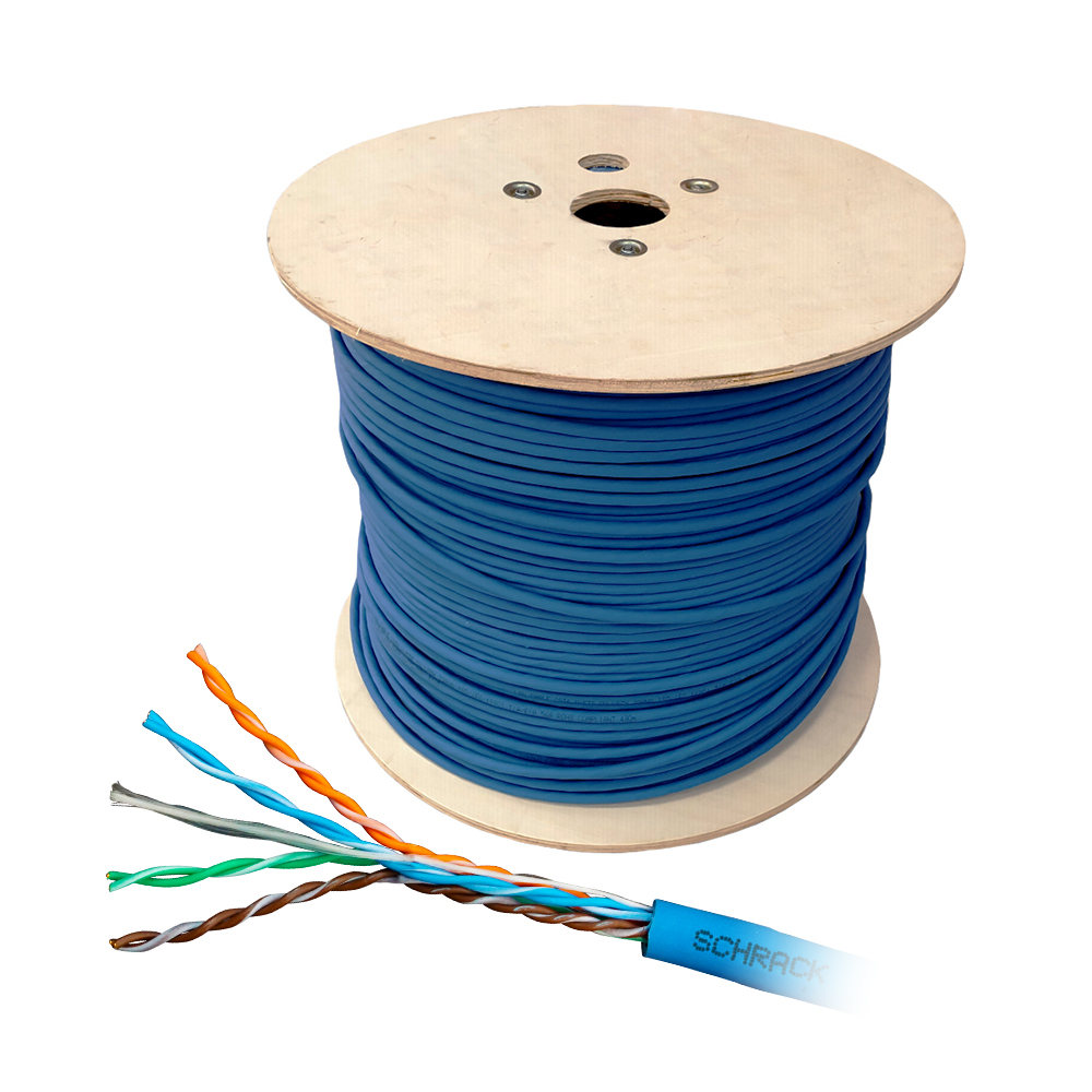 Cablu UTP CAT6 Schrack HSKU4233B5, 4x2xAWG24/1, 300MHz, LS0H-3-25, B2ca, 500 m