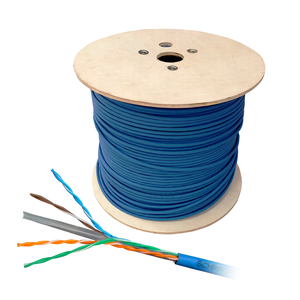 Cablu UTP CAT6 Schrack HSKU423P15, 4x2xAWG23/1, 300MHz, PVC, Eca, 500 m