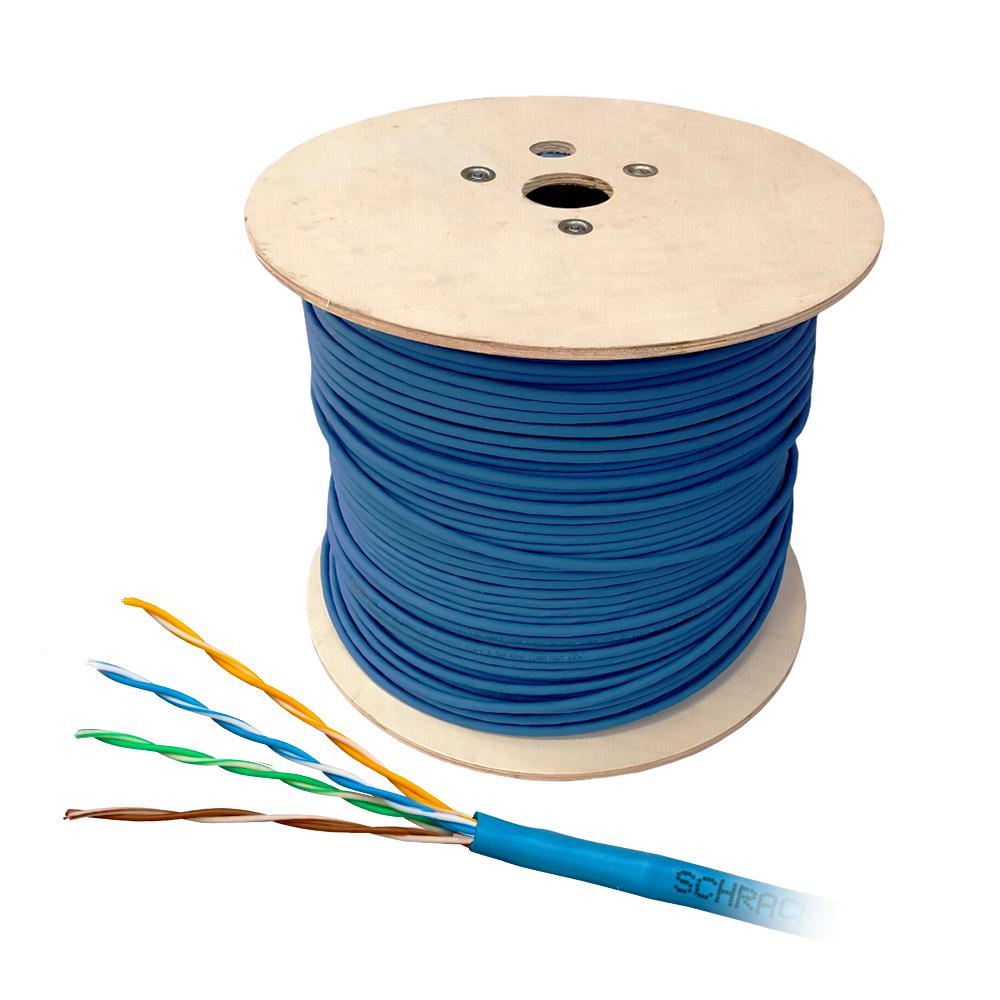 Cablu UTP CAT6 Schrack HSKU423BB5, 4x2xAWG24/1, 300MHz, LS0H, B2ca, 500 m