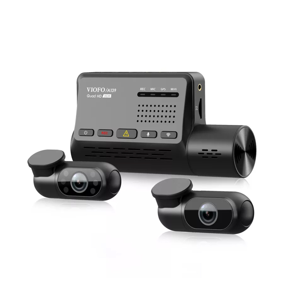 Camera pentru masina Viofo A139, 2K, WiFi, GPS Logger, 3 camere, microfon, slot card