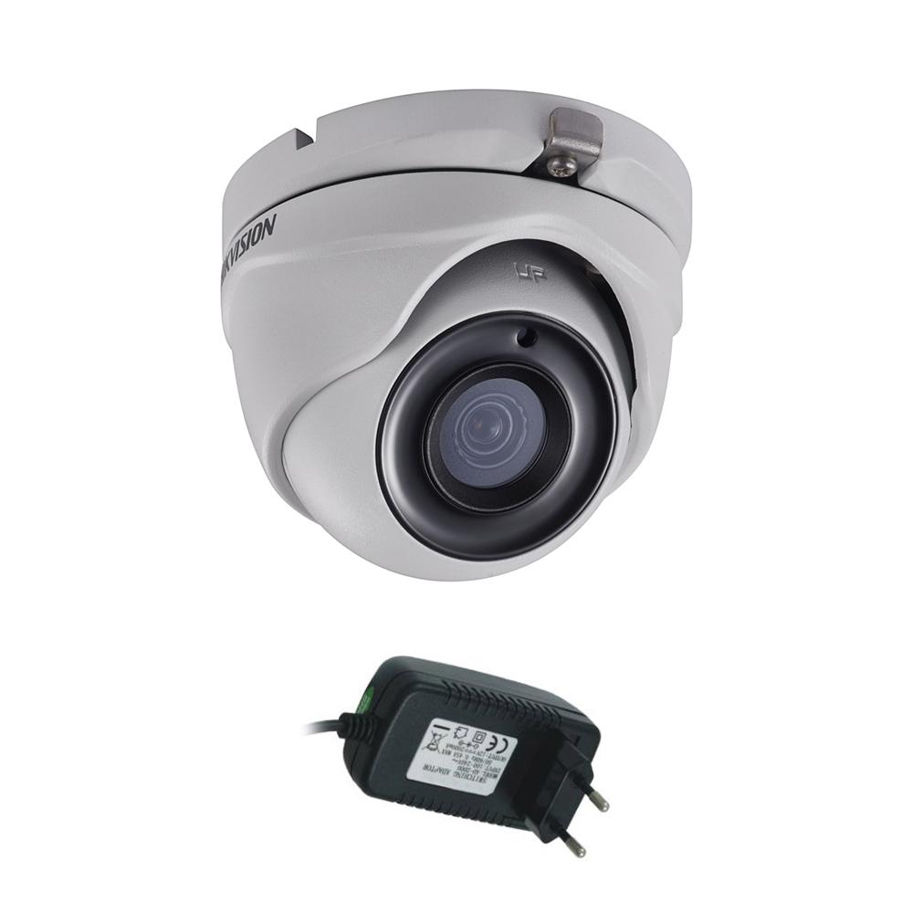 Camera supraveghere Dome Hikvision DS-2CE56H0T-ITMF, 5 MP, IR 20 m, 2.8 mm + alimentator imagine spy-shop.ro 2021