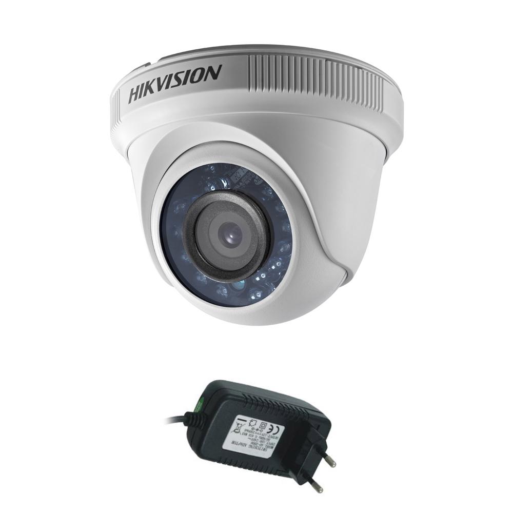 Camera supraveghere Dome Hikvision TurboHD DS-2CE56D0T-IRPF, 2 MP, IR 20 m, 2.8 mm + alimentator imagine spy-shop.ro 2021
