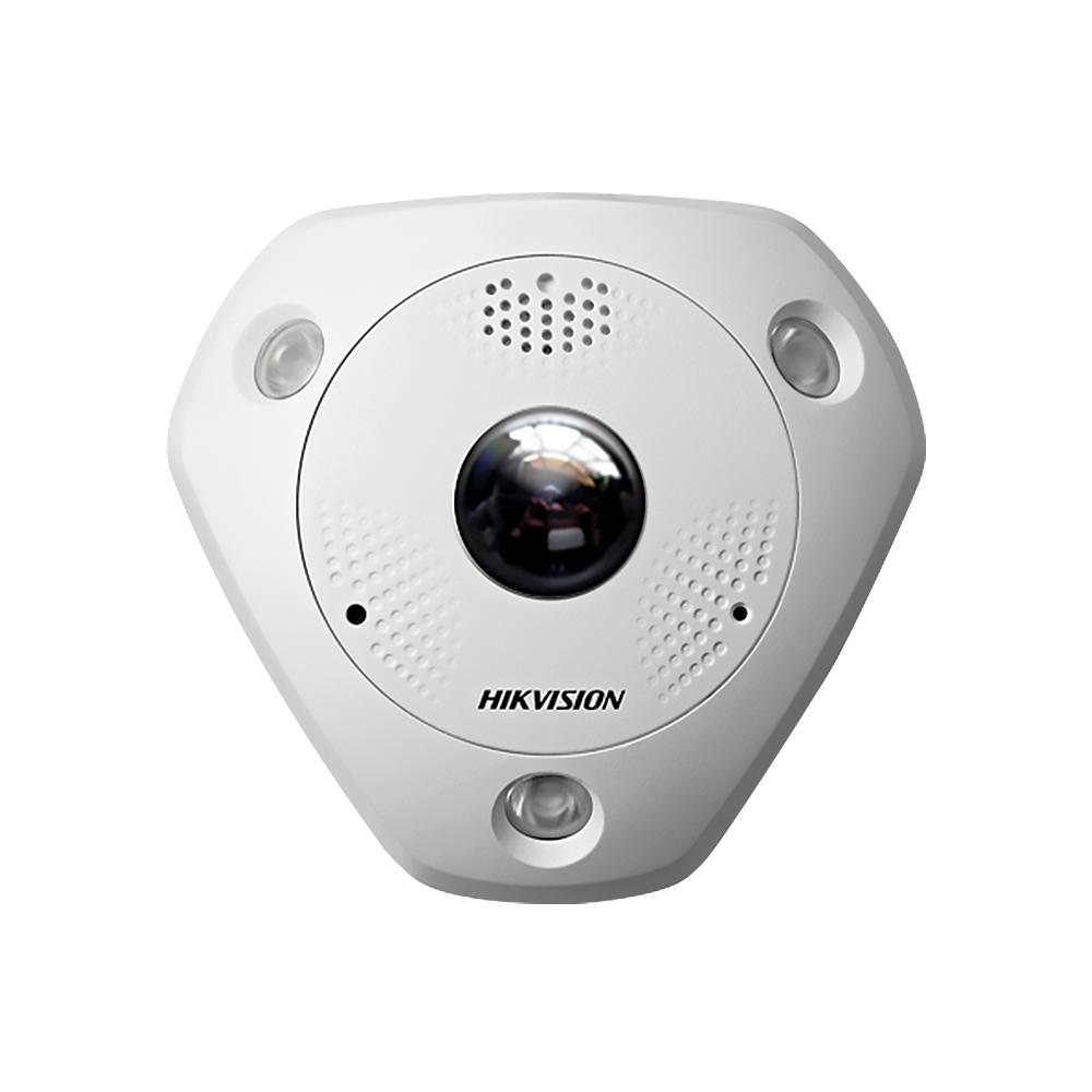 Camera supraveghere Dome IP Hikvision DS-2CD6362F-I Fisheye, 6 MP, IR 15 m, 1.27 mm, microfon imagine spy-shop.ro 2021
