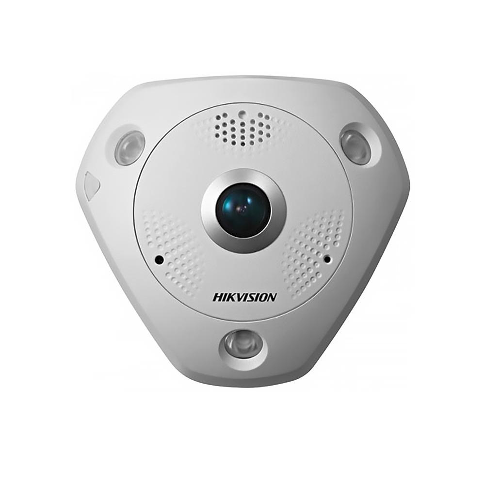 Camera supraveghere Dome IP Hikvision DS-2CD6362F-IVS Fisheye, 6 MP, IR 15 m, 1.27 mm, microfon imagine spy-shop.ro 2021