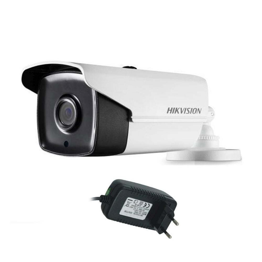 Camera supraveghere exterior Hikvision TurboHD DS-2CE16C0T-IT3F, 1 MP, IR 40 m, 2.8 mm + alimentator imagine spy-shop.ro 2021