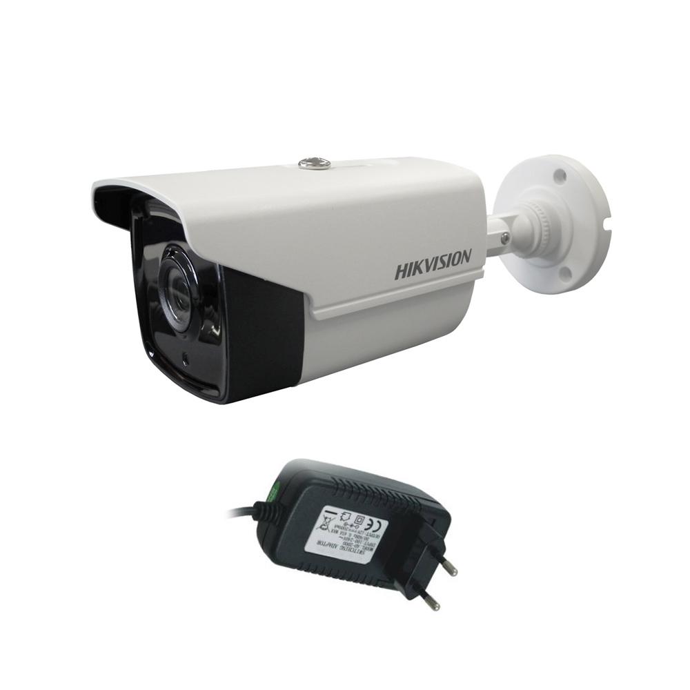 Camera supraveghere exterior Hikvision Ultra Low Light TurboHD DS-2CE16D8T-IT3F, 2 MP, IR 60 m, 2.8 mm + alimentator