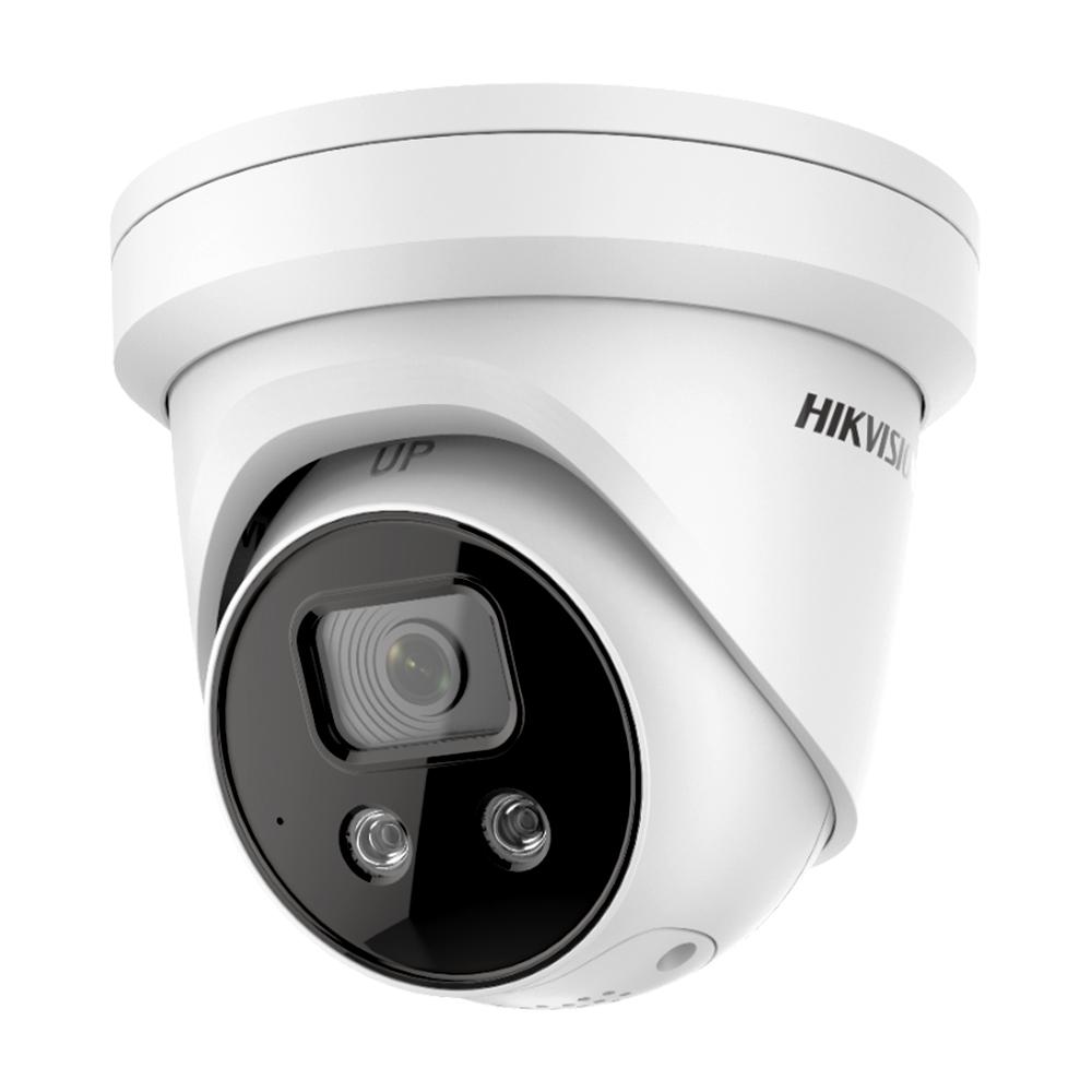 Camera supraveghere IP Dome Hikvision AcuSense DS-2CD2346G2-ISU/SL, 4 MP, IR 30 m, 2.8 mm, stroboscop, sirena, microfon