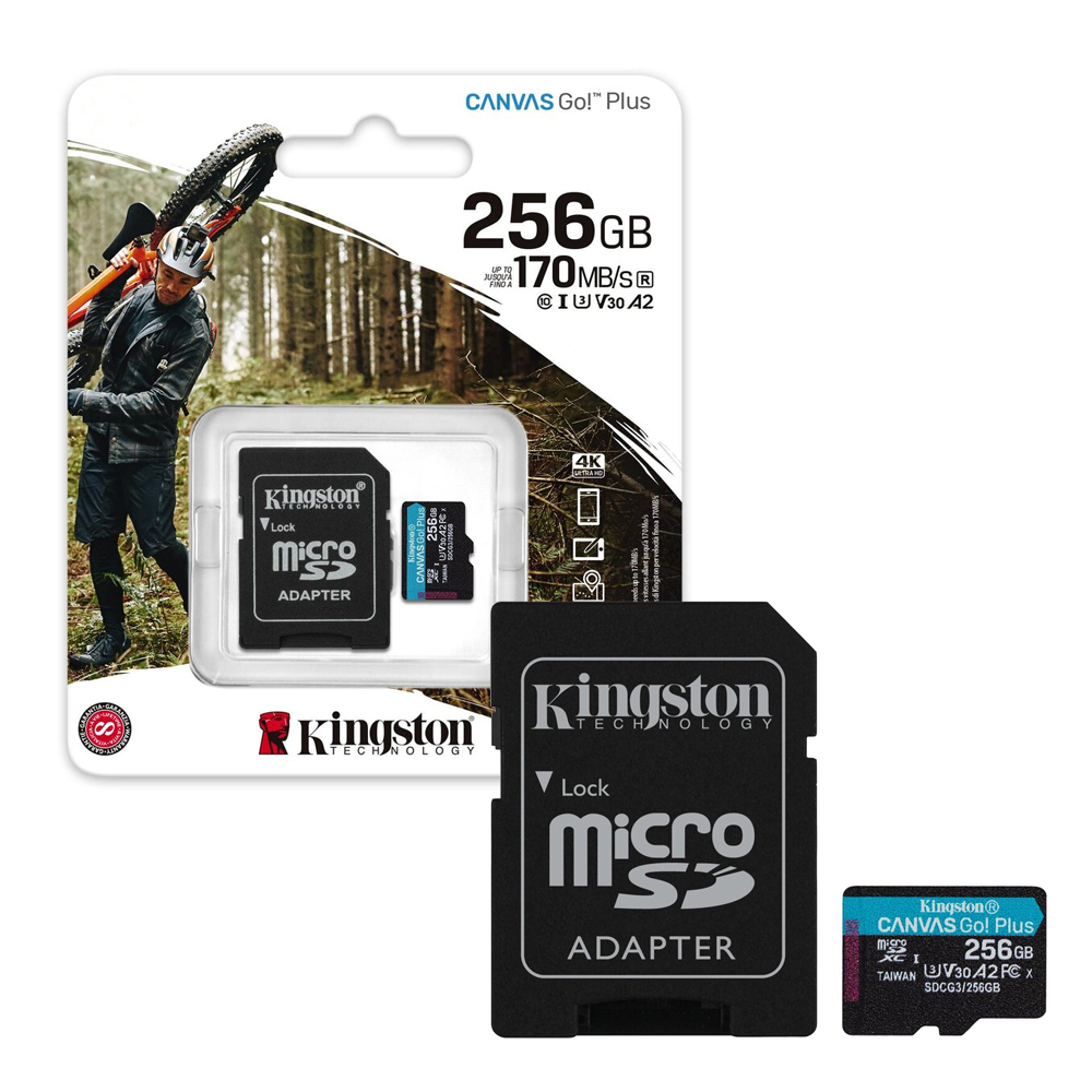 Card de memorie Kingston Canvas Go Plus MicroSDXC SDCG3/256GB, 256GB, clasa 10, A2, UHS-I