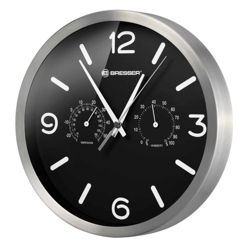 Ceas de perete Bresser MyTime 8020315CM3000, termometru, negru