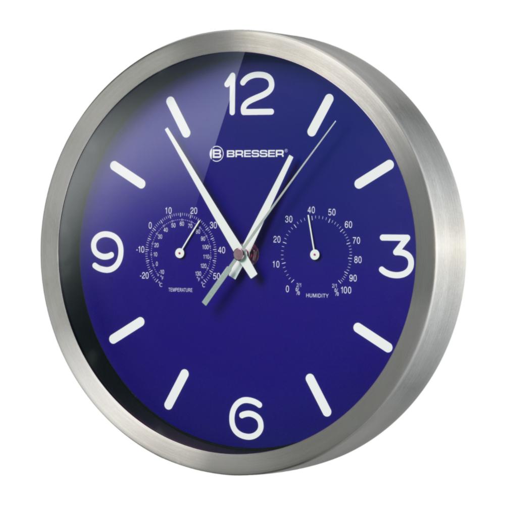Ceas de perete Bresser MyTime 8020315WXH000, termometru, albastru