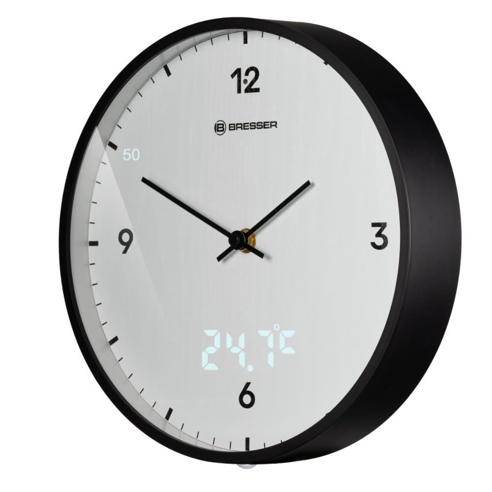 Ceas de perete Bresser MyTime LED 8020215GYE000, termometru, alb