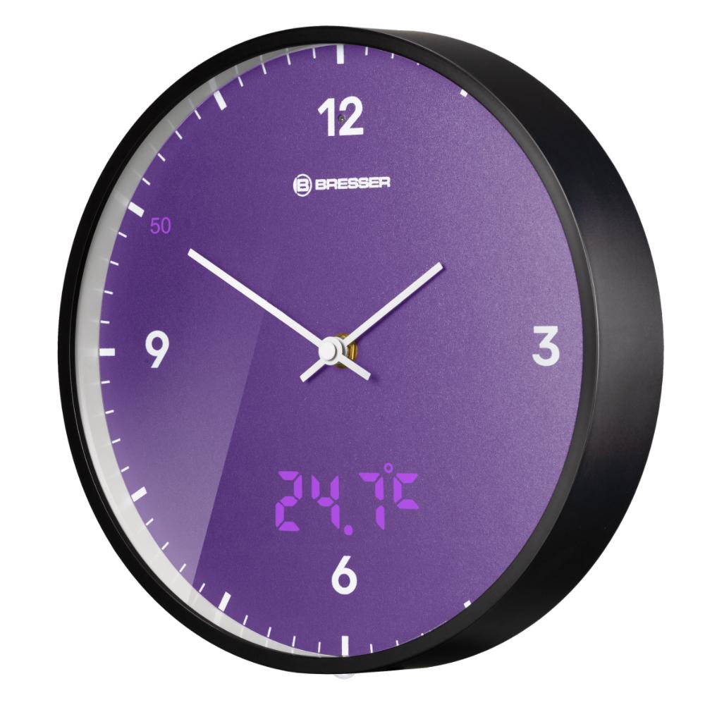 Ceas de perete Bresser MyTime LED 8020215URJ000, termometru, mov