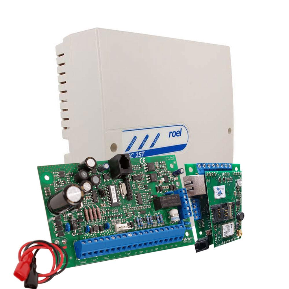 Centrala alarma antiefractie Cerber C816W cu comunicator IP/GPRS si carcasa cu traf, 2 partitii, 8 zone, 45 utilizatori imagine