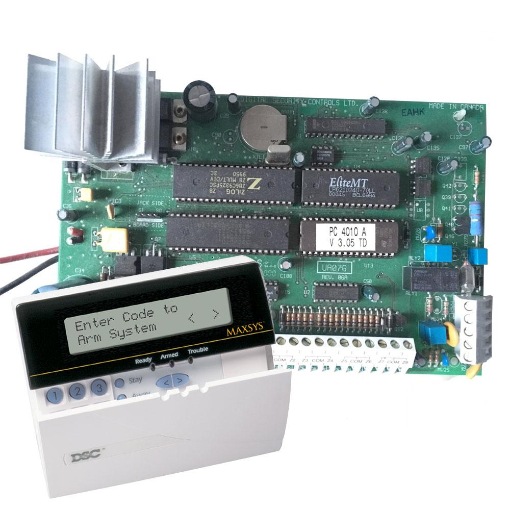 Centrala alarma antiefractie DSC Maxsys PC 4010A cu tastatura LCD 4501, 4 partitii, 8 zone, 1000 utilizatori imagine