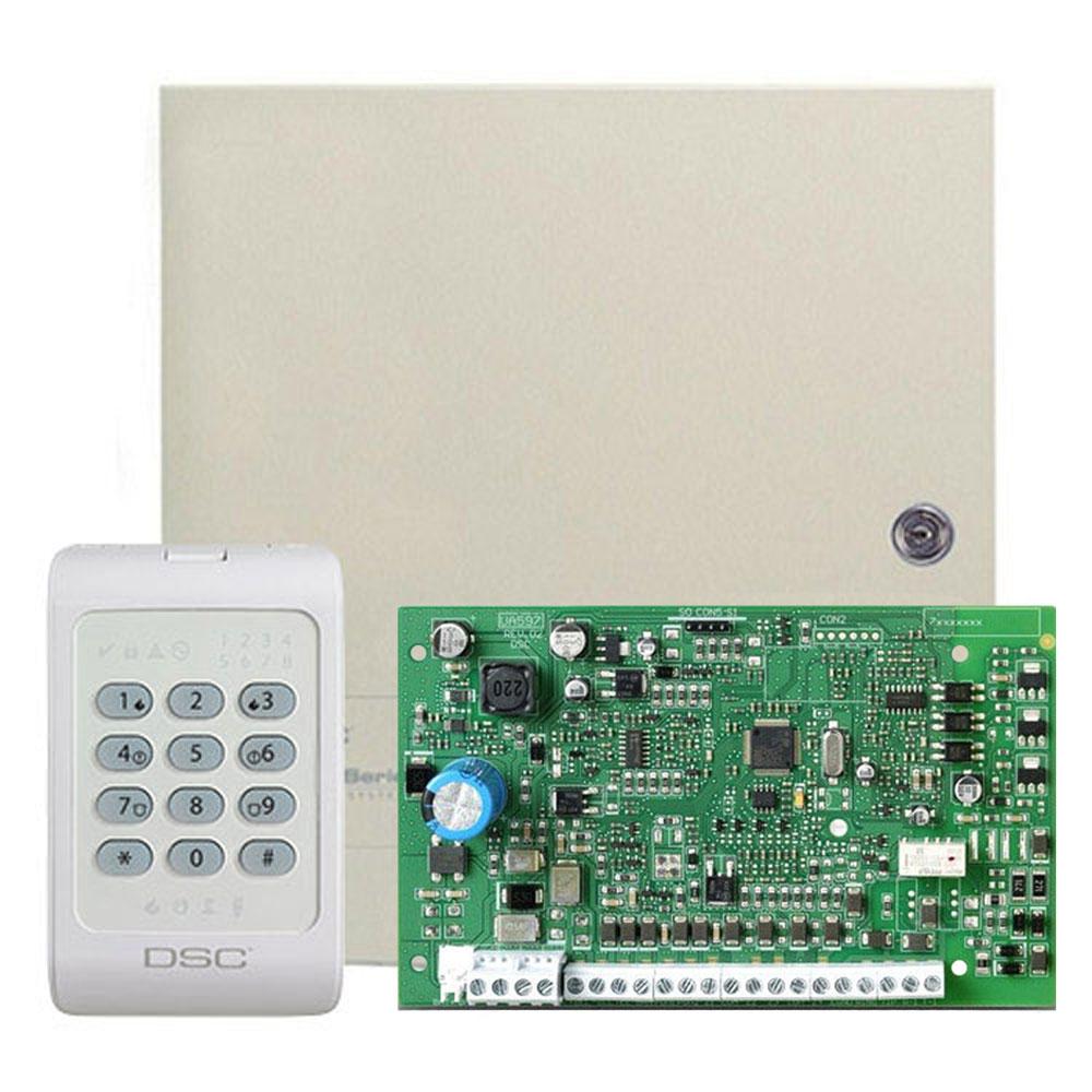 Centrala alarma antiefractie DSC PC 1404 cu tastatura PC1404RKZ si carcasa, 1 partitie, 4-8 zone, 39 utilizatori imagine spy-shop.ro 2021