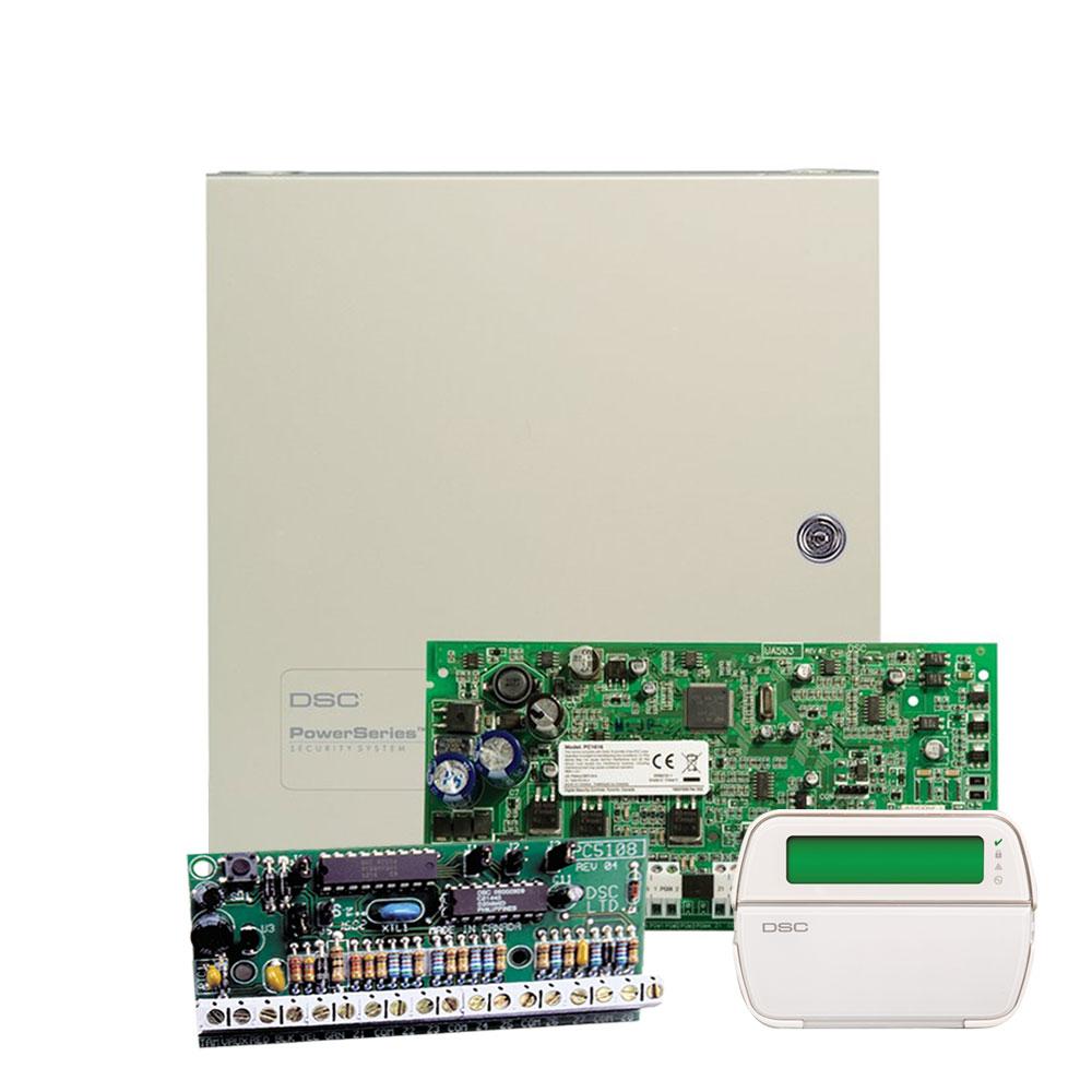 Centrala alarma antiefractie DSC PC 1616 cu modul de extensie PC 5108 si tastatura PK 5501, 2 partitii, 16 zone, 500 evenimente imagine