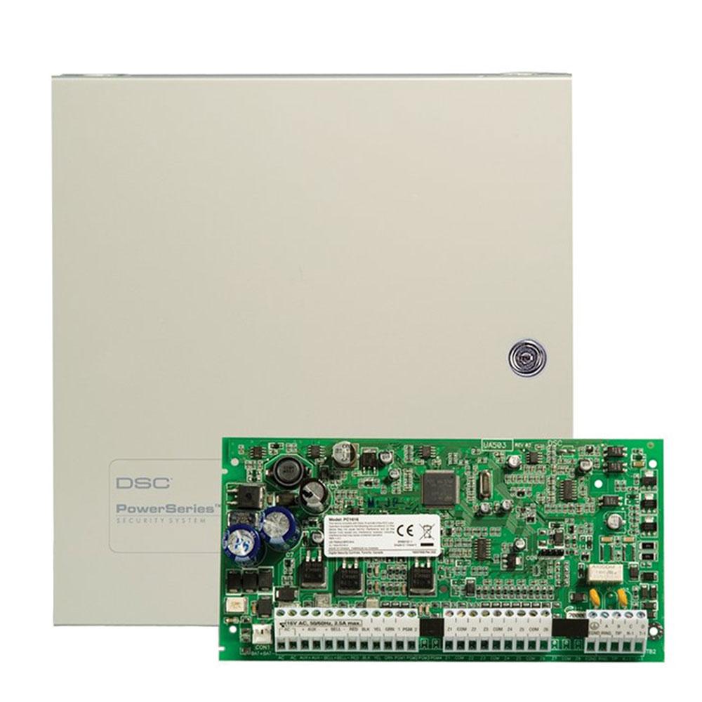 Centrala alarma antiefractie DSC Power PC 1616 NK cu cutie metalica, 2 partitii, 6-32 zone, 48 utilizatori imagine