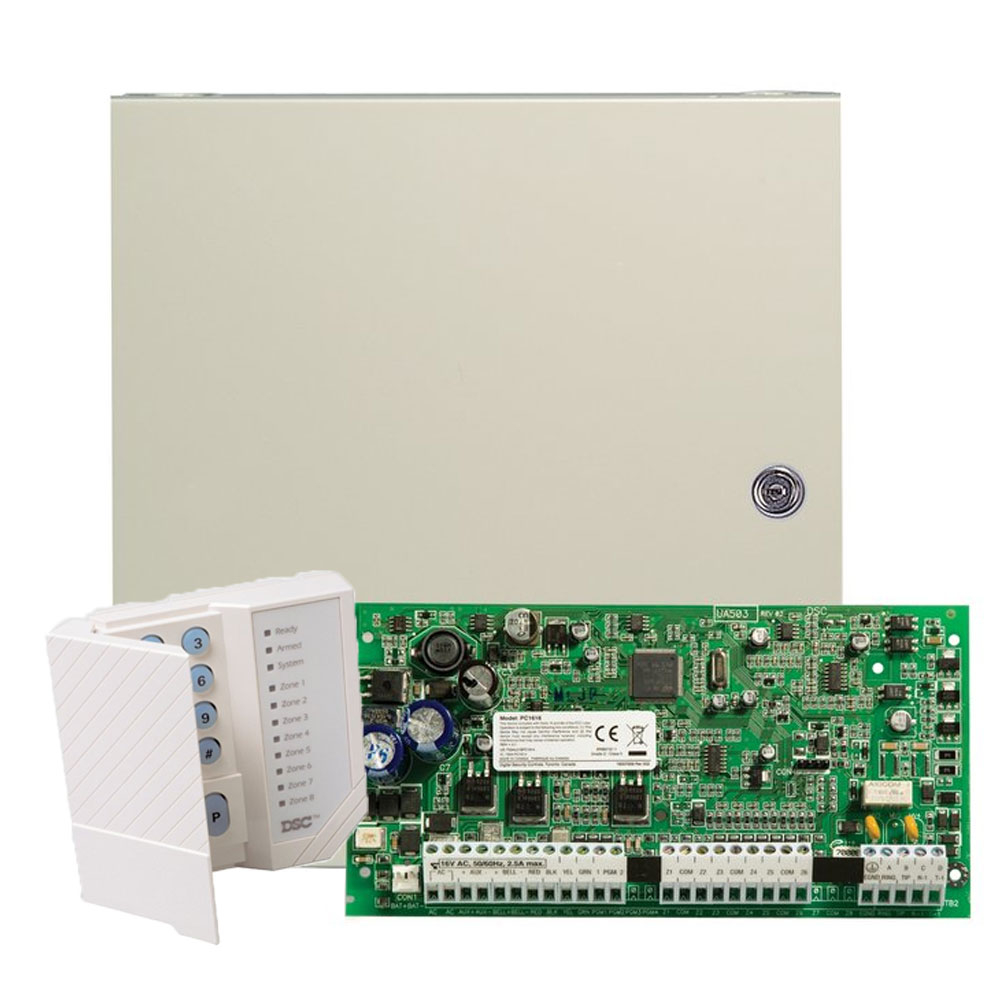 Centrala alarma antiefractie DSC power PC1616 cu tastatura si carcasa