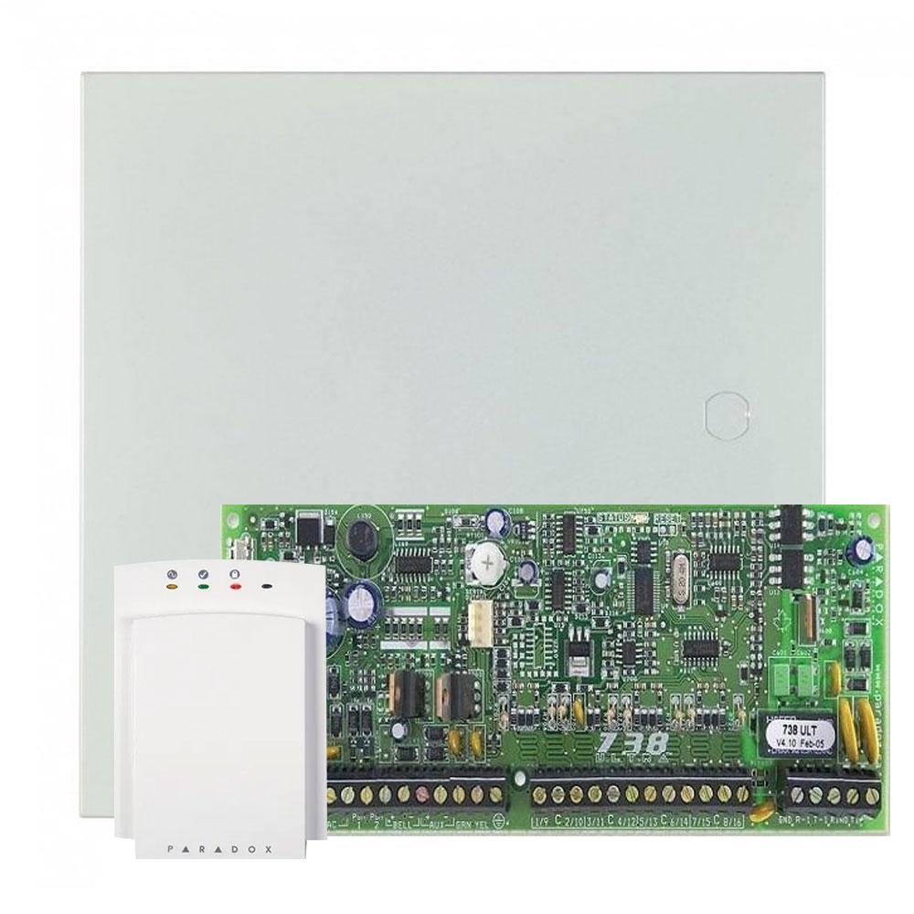 Centrala alarma antiefractie PA-738ULT cu tastatura PA-646 si carcasa metalica, 2 partitii, 18 zone, 49 utilizatori imagine