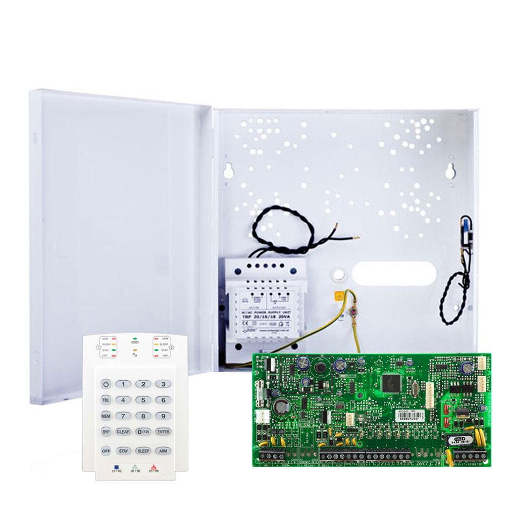 Centrala alarma antiefractie Paradox Spectra SP 5500 cu tastatura K10V si carcasa cu traf, 2 partitii, 5 zone, 32 utilizatori imagine