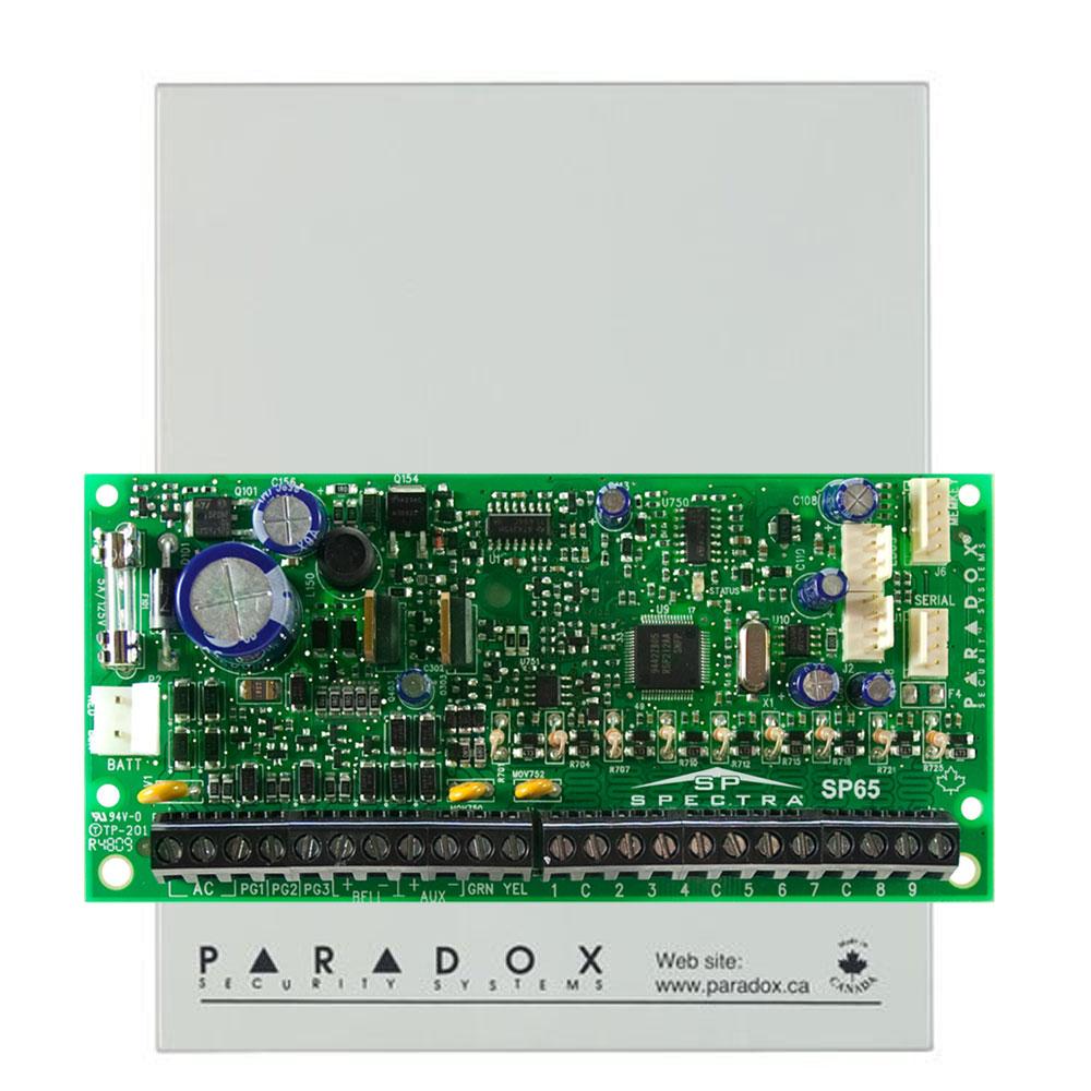 Centrala alarma antiefractie Paradox Spectra SP65, carcasa metalica cu traf, 9 zone, 2 partitii imagine spy-shop.ro 2021