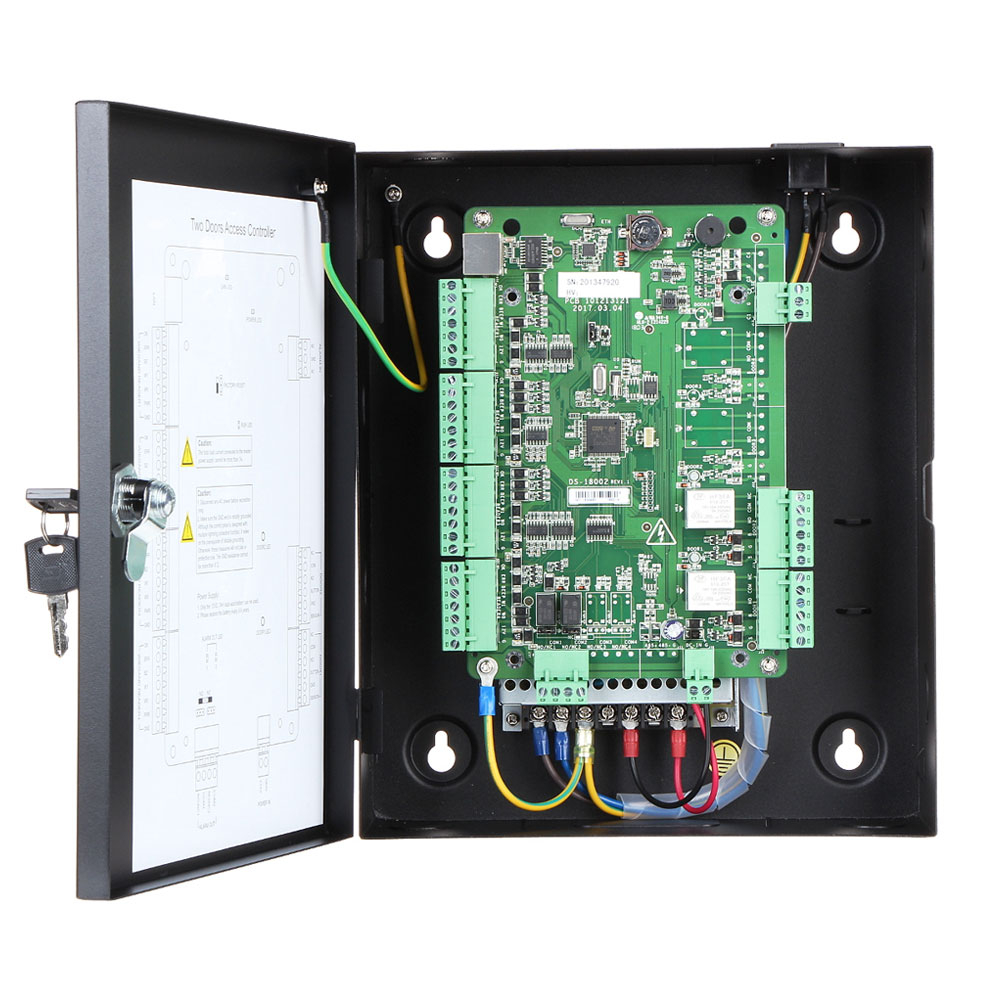 Centrala control acces pentru 2 usi bidirectionale Hikvision DS-K2802, 10.000 utilizatori, 50.000 inregistrari, Wiegand imagine