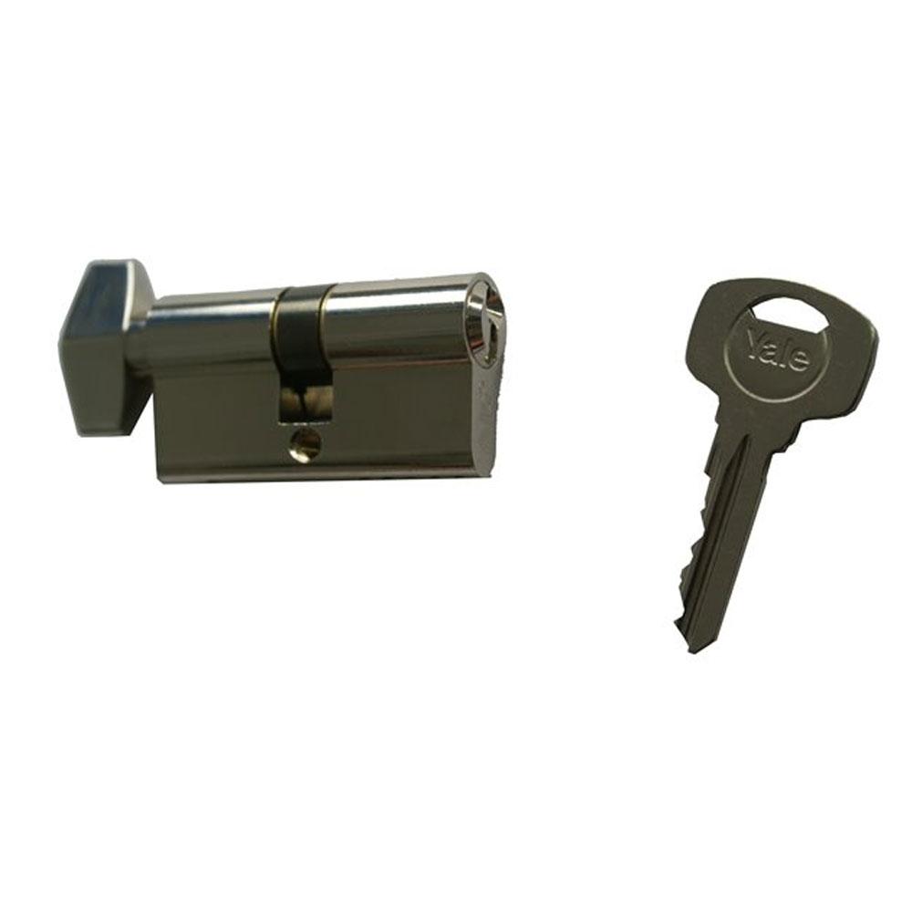 Cilindru de siguranta cu buton Standard Yale 500 A 01 FN K 40X40, 3 chei, 5 pini, nichel imagine spy-shop.ro 2021