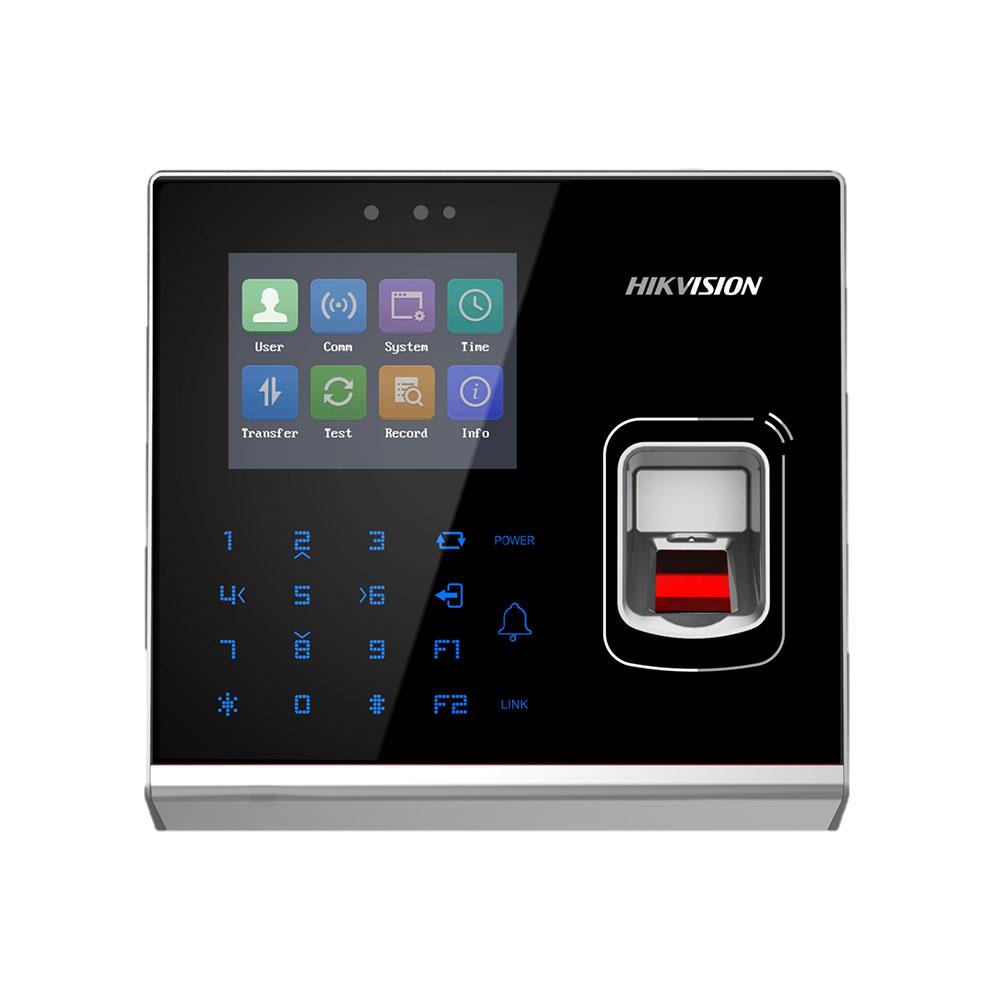 Cititor de proximitate biometric Hikvision HDS-K1T201AEF(O-STD), WiFi, EM, 125 KHz, 100.000 carduri, 5.000 amprente, 300.000 evenimente