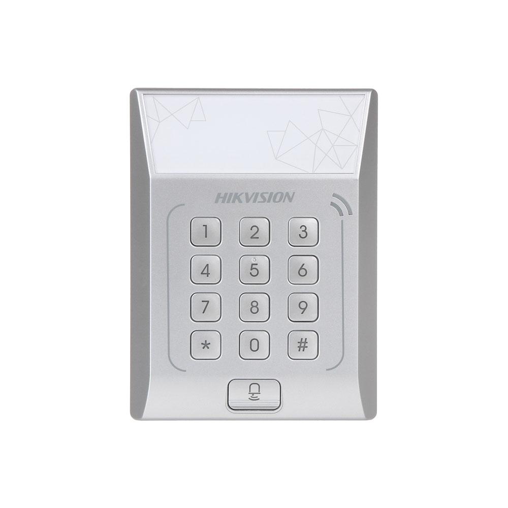 Cititor de proximitate cu tastatura RFID Hikvision DS-K1T801M, Mifare, 13.56 MHz, PIN/card, 3.000 carduri, 3.000 parole, watchdog