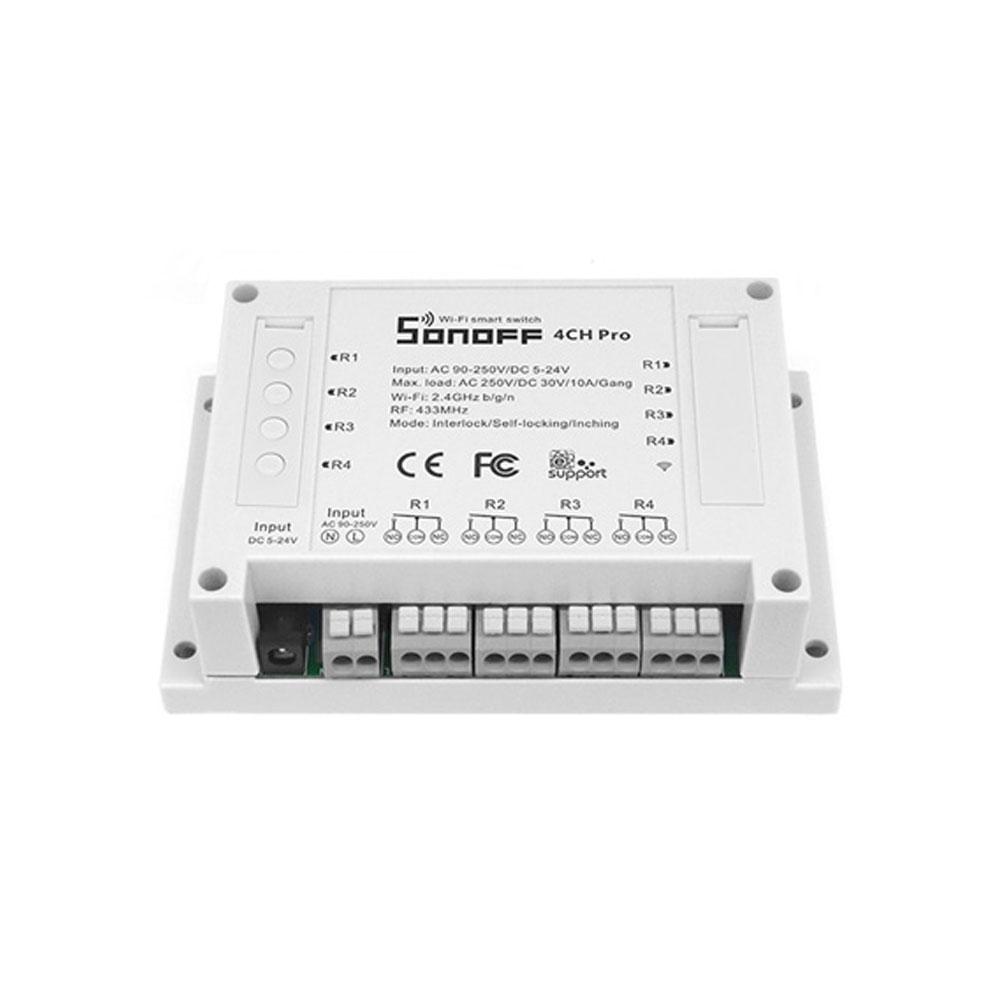 Comutator WiFi cu 4 canale interlock/inching/self-locking SONOFF 4CH PRO, 433 MHz, 10A, 2200W