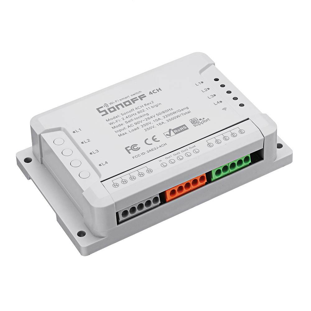 Comutator WiFi cu 4 canale SONOFF 4CHR2, 10A, 2200W imagine spy-shop.ro 2021