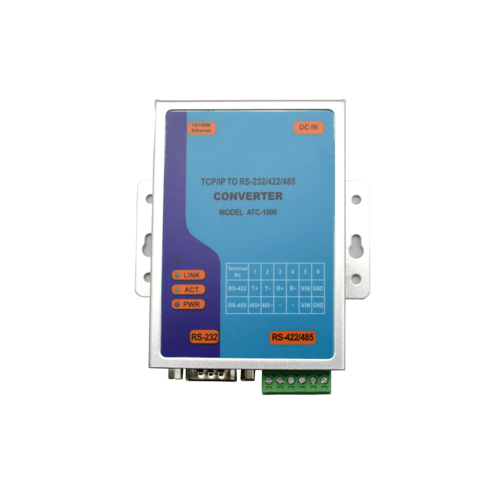Convertor integrat RS232/422/485 la TCP/IP Kentec ATC 1000, sina DIN, 10/100 Mbps