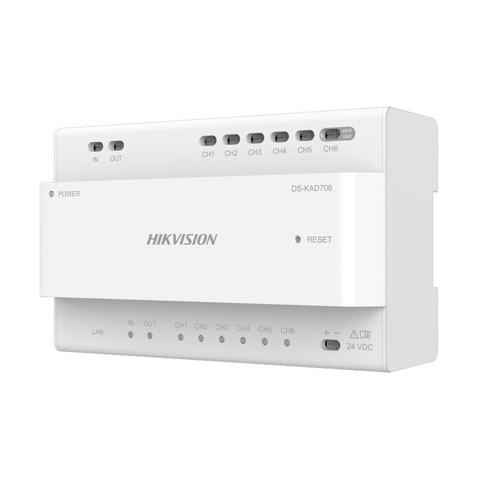 Distribuitor video/audio Hikvision DS-KAD706, 24 VDC, 9 W, 2 fire imagine spy-shop.ro 2021