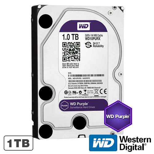 HARD DISK 1TB INTELLIPOWER 64MB WD PURPLE WESTERN DIGITAL WD10PURZ
