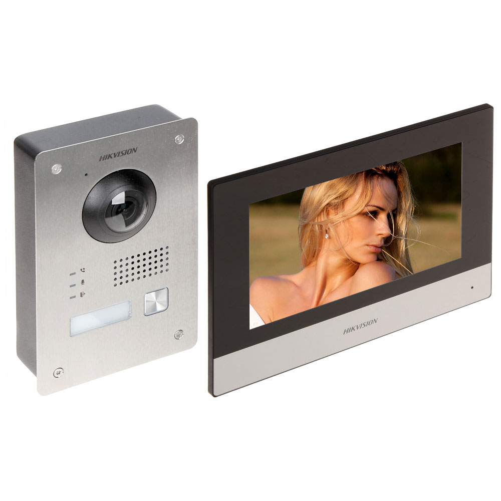 Kit videointerfon IP pe 2 fire Hikvision DS-KIS703-P-D, 1 familie, 2 MP, IR 3 m, 7 inch, aparent/ingropat