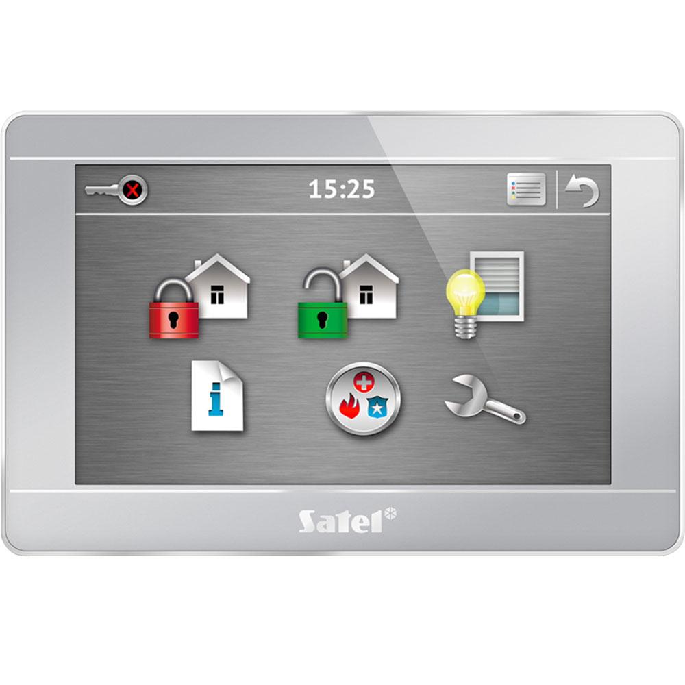 Tastatura LCD touchscreen Satel INT-TSG-SSW, 4.3 inch, 3 butoane functionale, functie macro
