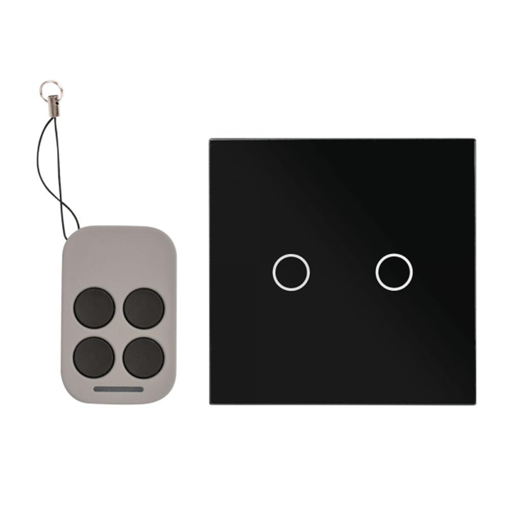 Intrerupator dublu cu actionare la atingere si telecomanda RF AJ-TSB-02-BK, 110-240 V, 100000 deschideri, 50/60 hz imagine spy-shop.ro 2021