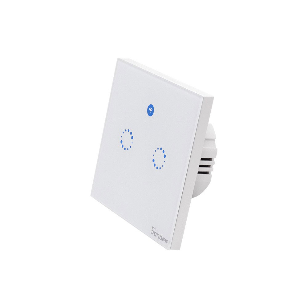 Intrerupator lumina WiFi SONOFF 2RX, 433MHz, 600W, 2 butoane imagine spy-shop.ro 2021