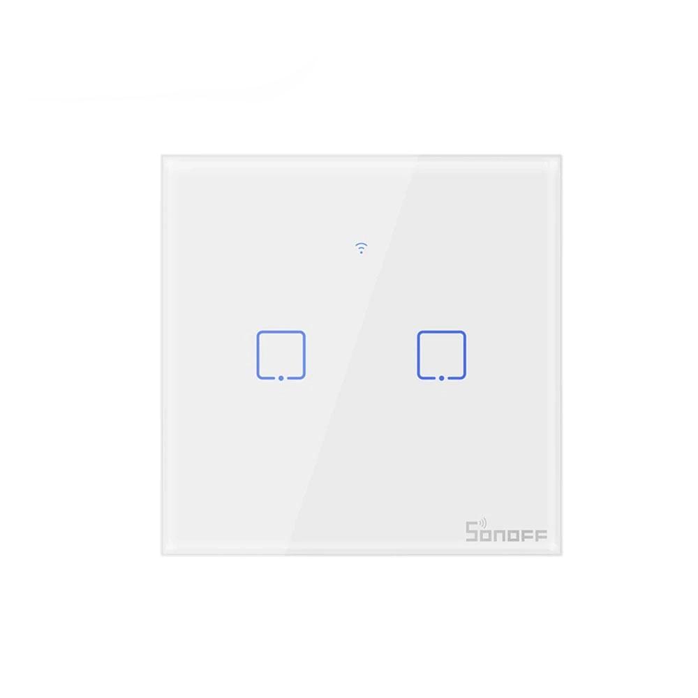 Intrerupator lumina WiFi SONOFF T1EU2C-TX, 433MHz, control LAN, 2 butoane