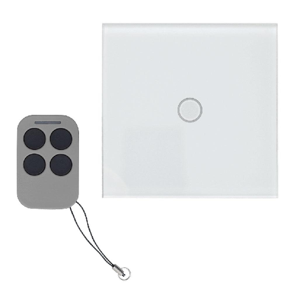Intrerupator simplu cu actionare la atingere si telecomanda RF AJ-TSB-01-WH, 110-240 V, alb, 50/60 hz imagine spy-shop.ro 2021
