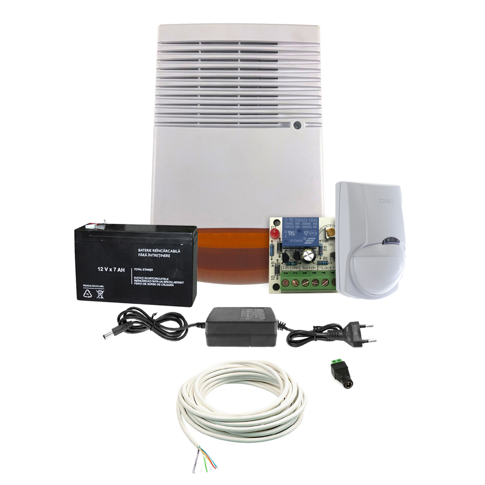 Sistem basic antiefractie ALRM-KIT-DET, 1 zona, temporizator 5-30 sec, 120 dB, 15 m