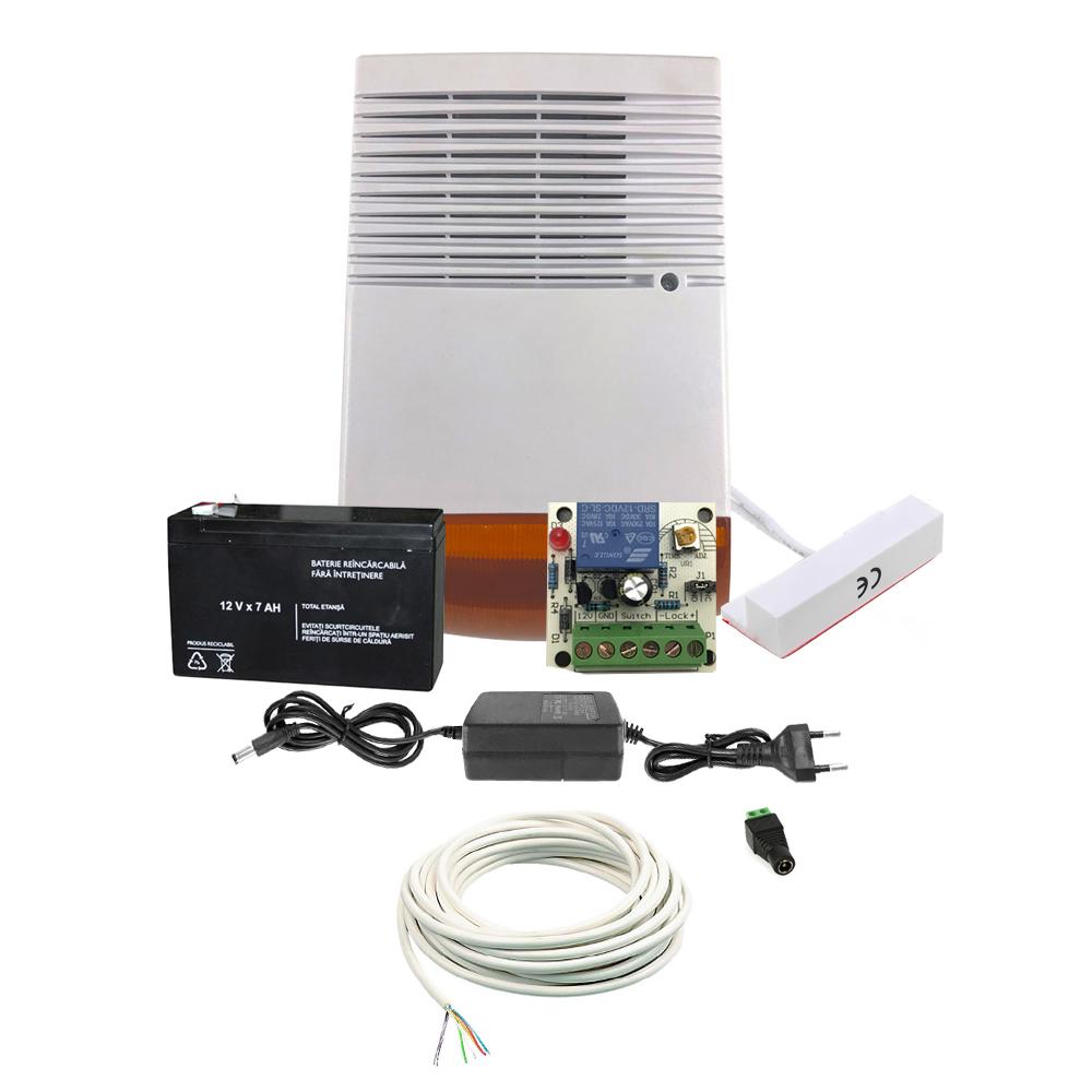 Sistem basic antiefractie ALRM-KIT-CM, 1 zona, temporizator 5-30 sec, 120 dB imagine spy-shop.ro 2021