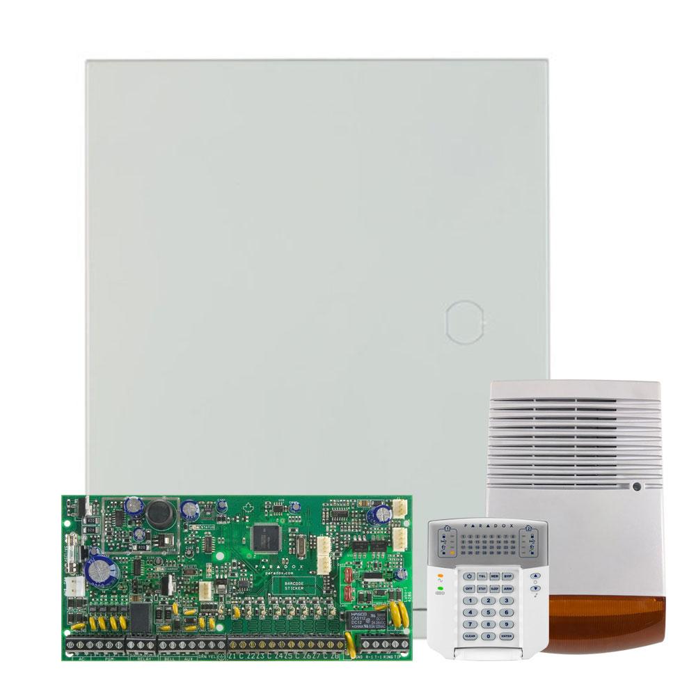 Kit alarma antiefractie Paradox Spectra SP6000+K32+SL-900B, 2 partitii, 8-32 zone, 32 utilizatori, cutie cu traf imagine spy-shop.ro 2021